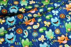 801-879 Žáby na tm. modrém podkladu -