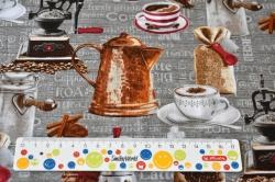 Látky Patchwork - Motiv kávy