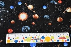 Látky Patchwork - Vesmír na černém podkladu