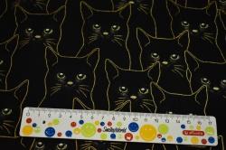 Látky Patchwork - Zlaté kočky na černém podkladu