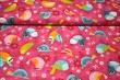 Látky Patchwork - Ptáčci na sytě růžovém podkladu