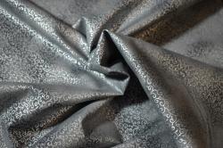 Látky Patchwork - Stříbrné ornamenty na šedém podkladu