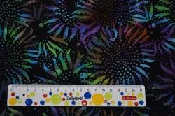 Látky Patchwork - Batika - barevné květiny na černém podkladu