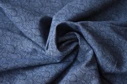 Látky Patchwork - Letní teplákovina - tm. modrá s ornamenty