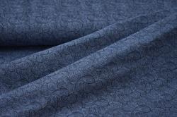 180202-10 Letní teplákovina - tm. modrá s ornamenty - smyčková