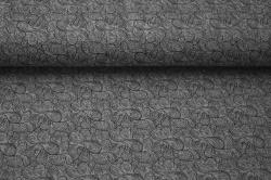 Látky Patchwork - Letní teplákovina - tm.šedá s ornamenty