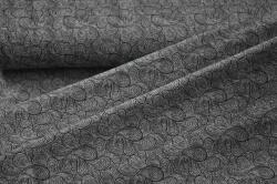 180202-08 Letní teplákovina - tm.šedá s ornamenty - smyčková