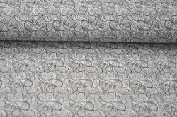 Látky Patchwork - Letní teplákovina - sv.šedá s ornamenty