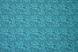 Látky Patchwork - Letní teplákovina - tyrkysová s ornamenty