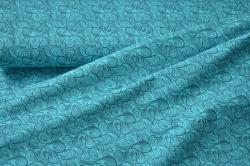 180202-07 Letní teplákovina - tyrkysová s ornamenty - smyčková