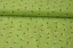 Látky Patchwork - Včelky na sv. zeleném podkladu