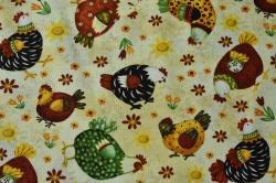 Látky Patchwork - Slepičky na béžovo-batikovém podkladu