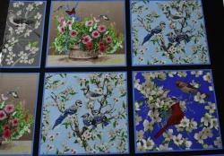 Látky Patchwork - Květy a ptáci na černé