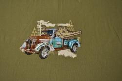 Látky Patchwork - Auto safari na khaki zelené