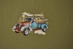 129676-0001 Auto safari na khaki zelené -  opakování vzoru po 40 cm