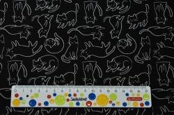 Látky Patchwork - Bílé kočky na černém podkladu