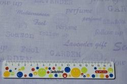 Látky Patchwork - Písmo na levandulové
