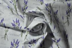 Látky Patchwork - Levandule na bílém podkladu