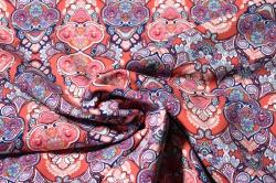 Látky Patchwork - Červené ornamenty