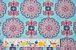 Látky Patchwork - Ornamenty na sv. modrém podkladu