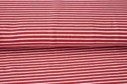 Látky Patchwork - Bílo-červené proužky