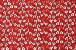 Látky Patchwork - Kytičky na červeném podkladu