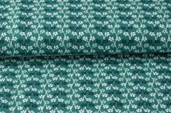 Látky Patchwork - Kytičky na zeleném podkladu
