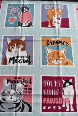 801-905 Panel - kočky -  opakování vzoru po 60 cm