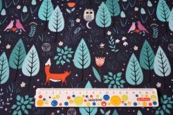 Látky Patchwork - Lišky na louce na tm.modré