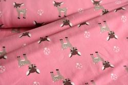 Látky Patchwork - Srnky na sytě růžové