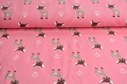 180327-01 Srnky na sytě růžové - Letní teplákovina počesaná - jemná pružná