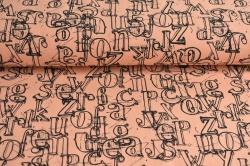 Látky Patchwork - Písmo na sv. oranžové