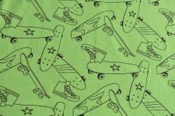 Látky Patchwork - Neon - skateboard na zeleném podkladu