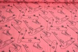 Látky Patchwork - Neon - skateboard na růžovém podkladu