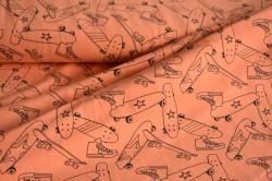 Látky Patchwork - Neon - skateboard na oranžovém podkladu