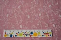 Látky Patchwork - Opice na růžovém podkladu