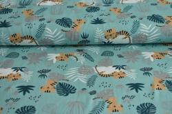 Látky Patchwork - Tygříci na zelenkavém podkladu