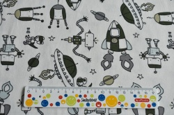 Látky Patchwork - Mimozemšťani a rakety na smetanové