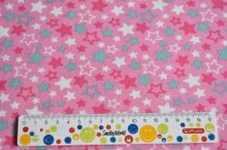 Látky Patchwork - Hvězdičky na růžovém podkladu