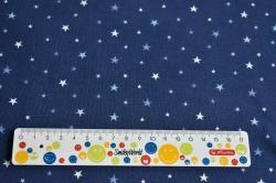 Látky Patchwork - Hvězdičky na temně modrém podkladu