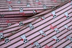 130508-3003 Lamy na růžovém podkladu - Letní počesaná teplákovina