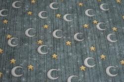 Látky Patchwork - Měsíc a hvězdy na šedo-modrém podkladu