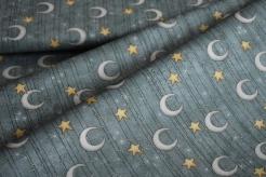 6200-890 Měsíc a hvězdy na šedo-modrém podkladu -