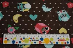 Látky Patchwork - Sovičky + ptáci na čokohnědé