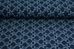 Látky Patchwork - Mořská hvězdice na tm. modré