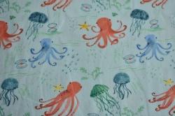 Látky Patchwork - Chobotnice a medůzy na sv. modré