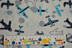 Látky Patchwork - Modrá letadla na caffe laté