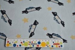 Látky Patchwork - Policejní auta na bledě modré