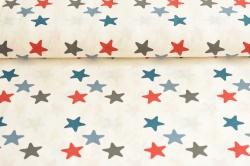 Látky Patchwork - Hvězdy na bílém podkladu