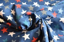 Látky Patchwork - Hvězdy na modrém podkladu